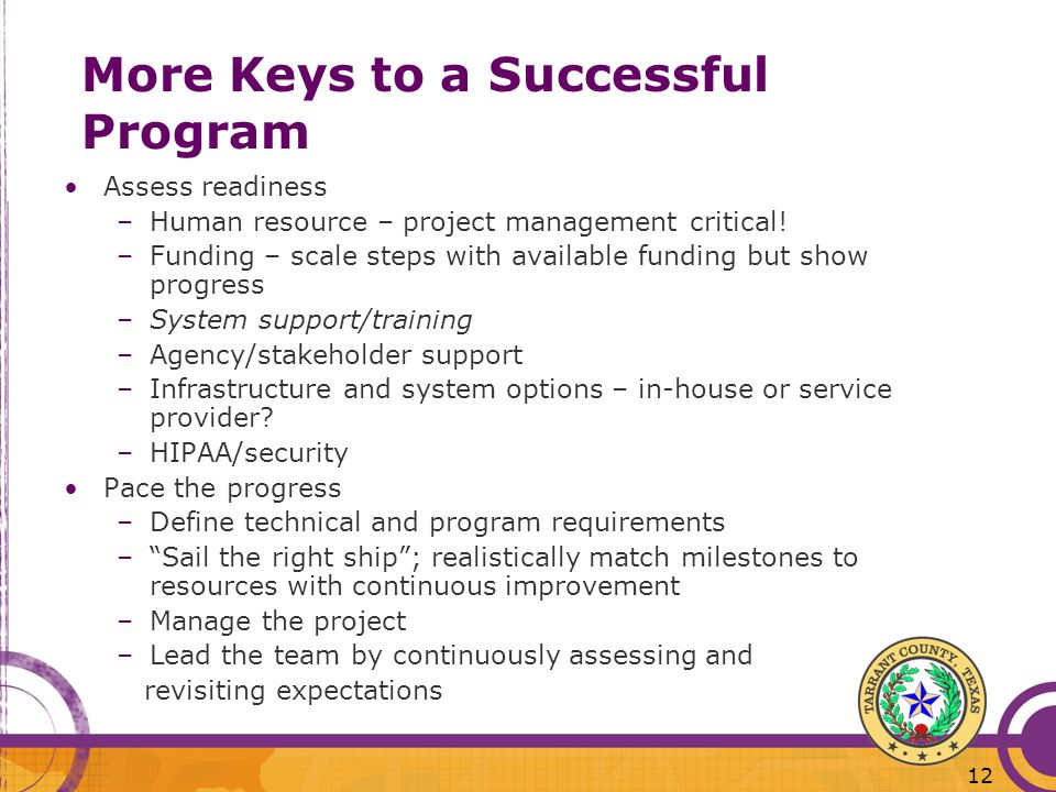 More Keys to a Successful Program