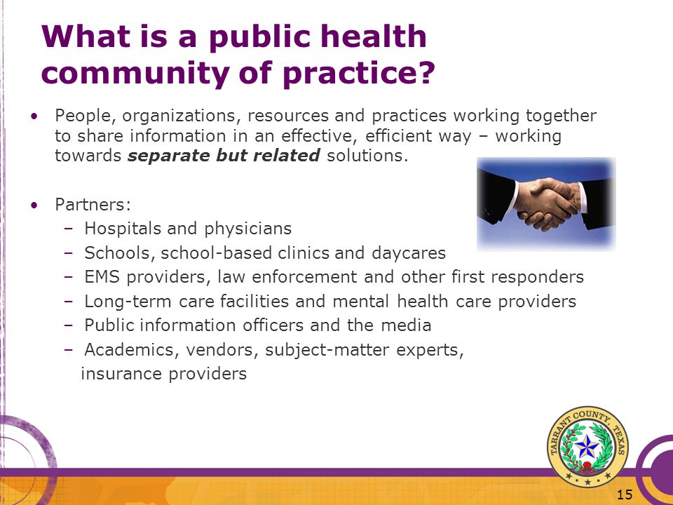 What is a public health community of practice