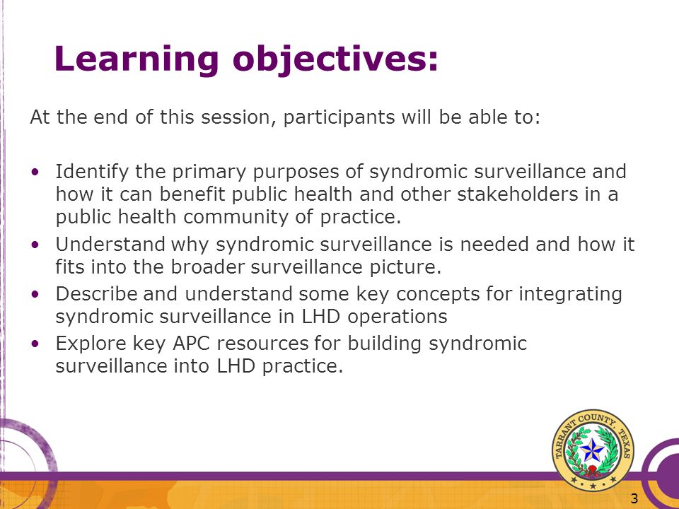 Learning objectives: At the end of this session, participants will be able to: