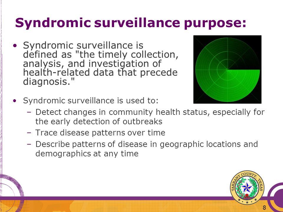 Syndromic surveillance purpose: