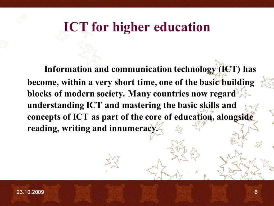 information and communication technology in higher Abstract—information and communication technology  period of 2004- 2011,  ict in higher education and then critical analysis is done.