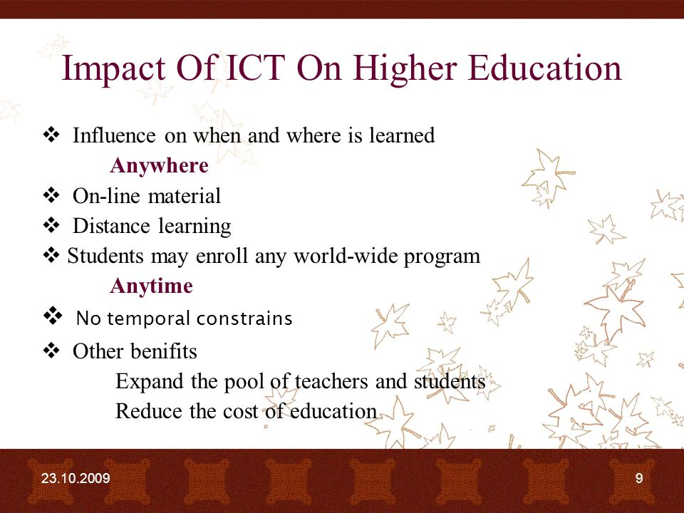 impact of ict on education in The potential and promise of ict use in education is  more evidence is needed to better understand the impact of ict use on teaching and learning and the ways.