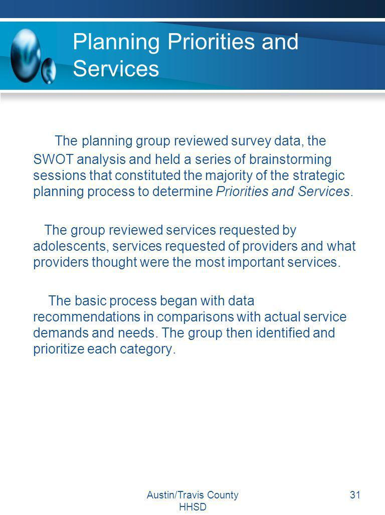 Planning Priorities and Services