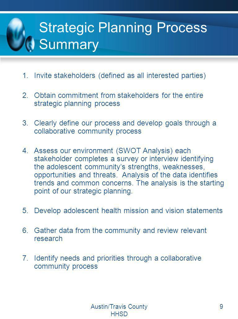 Strategic Planning Process Summary