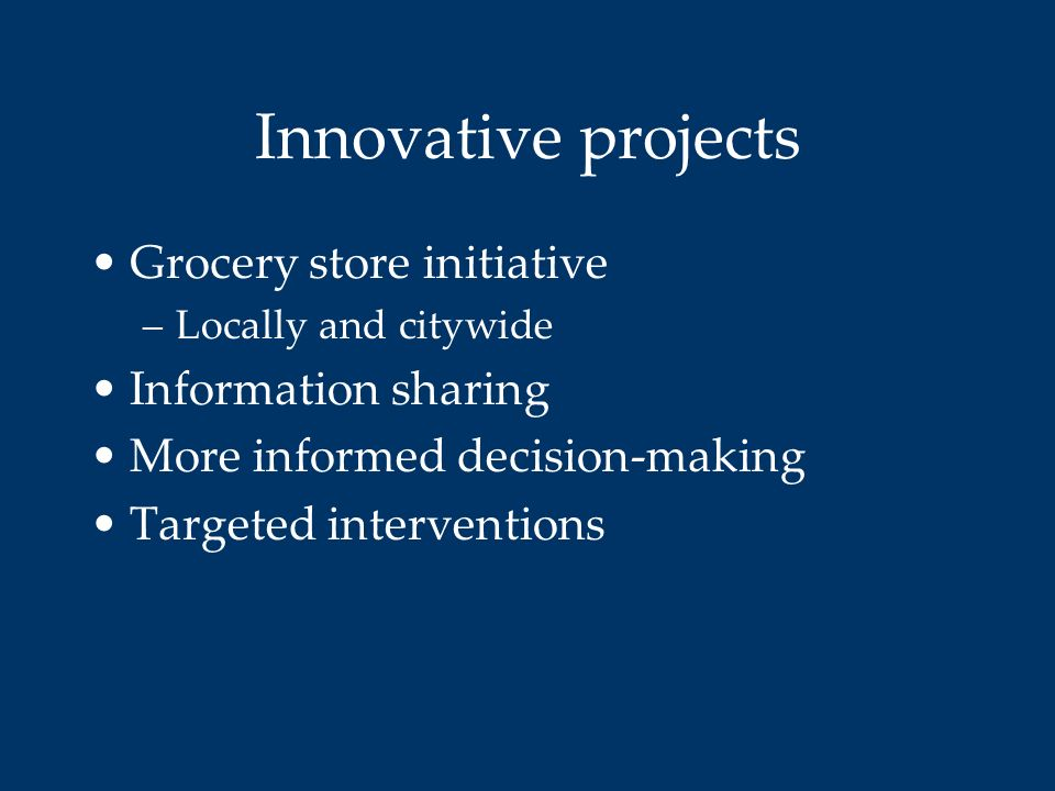 Innovative projects Grocery store initiative Information sharing