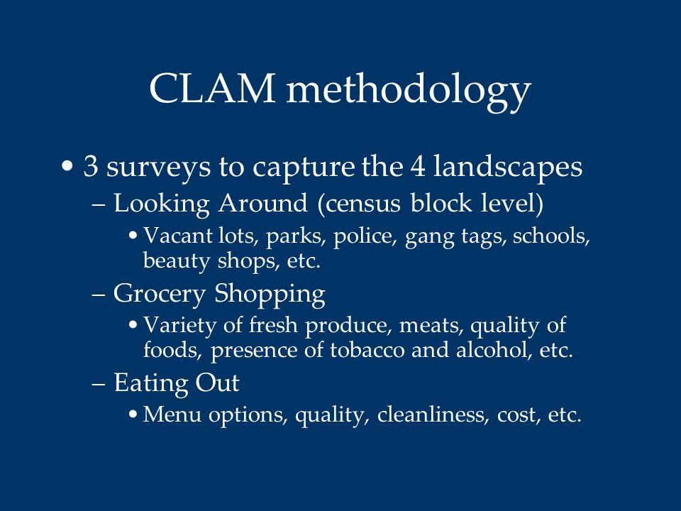CLAM methodology 3 surveys to capture the 4 landscapes
