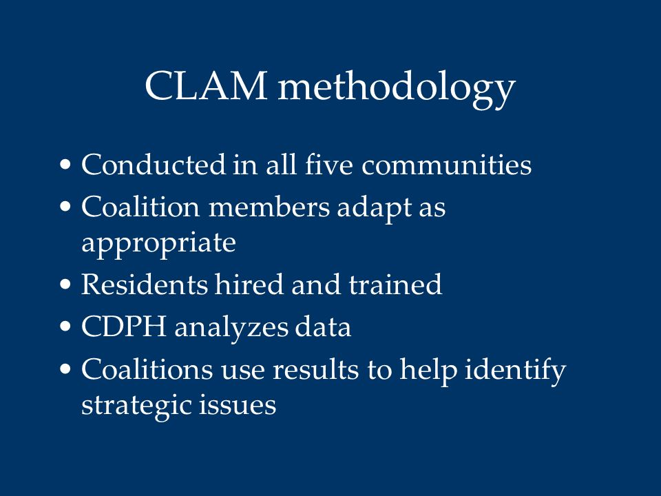 CLAM methodology Conducted in all five communities