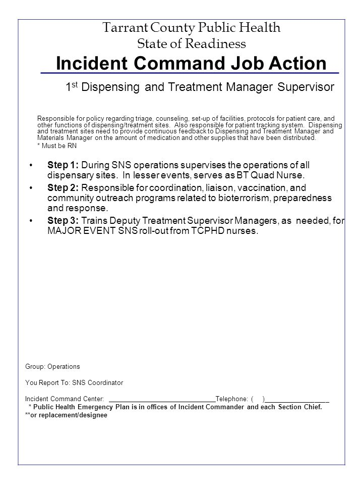 Tarrant County Public Health State of Readiness Incident Command Job Action