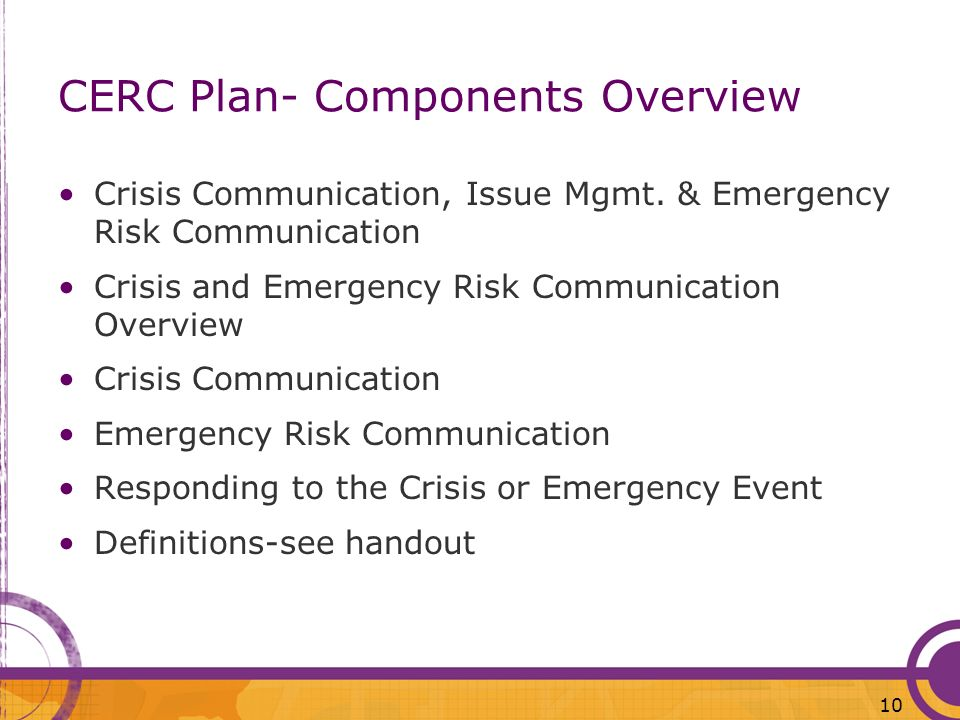 CERC Plan- Components Overview