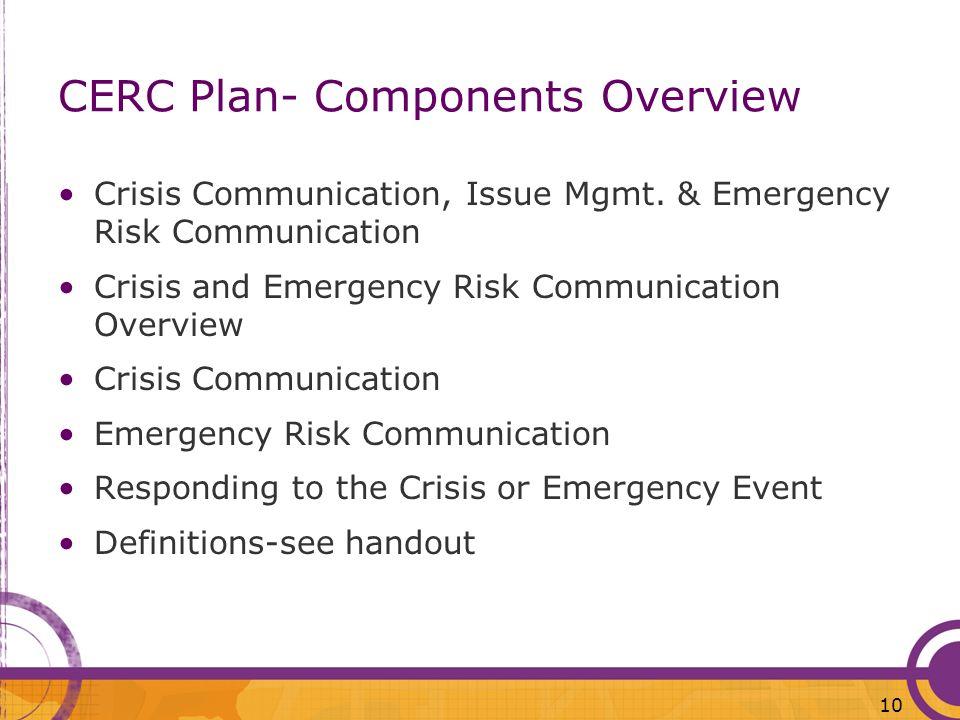 CERC Plan- Components Overview