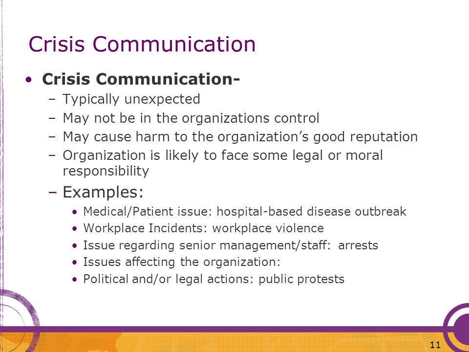 Crisis Communication Crisis Communication- Examples: