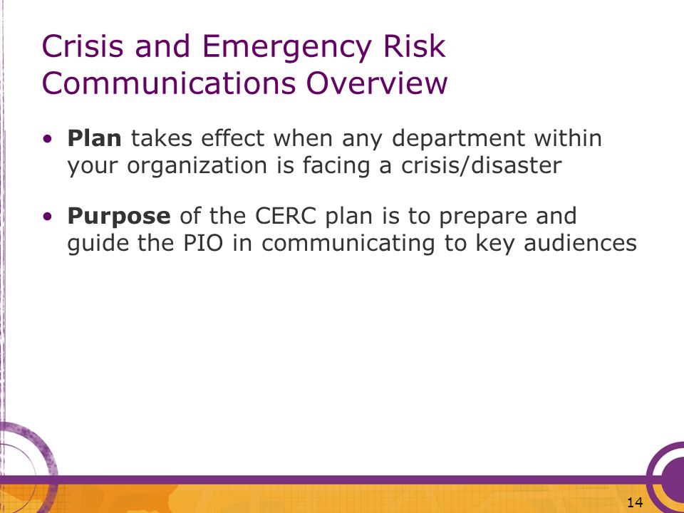 Crisis and Emergency Risk Communications Overview