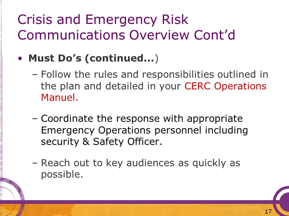 Crisis and Emergency Risk Communications Overview Cont'd
