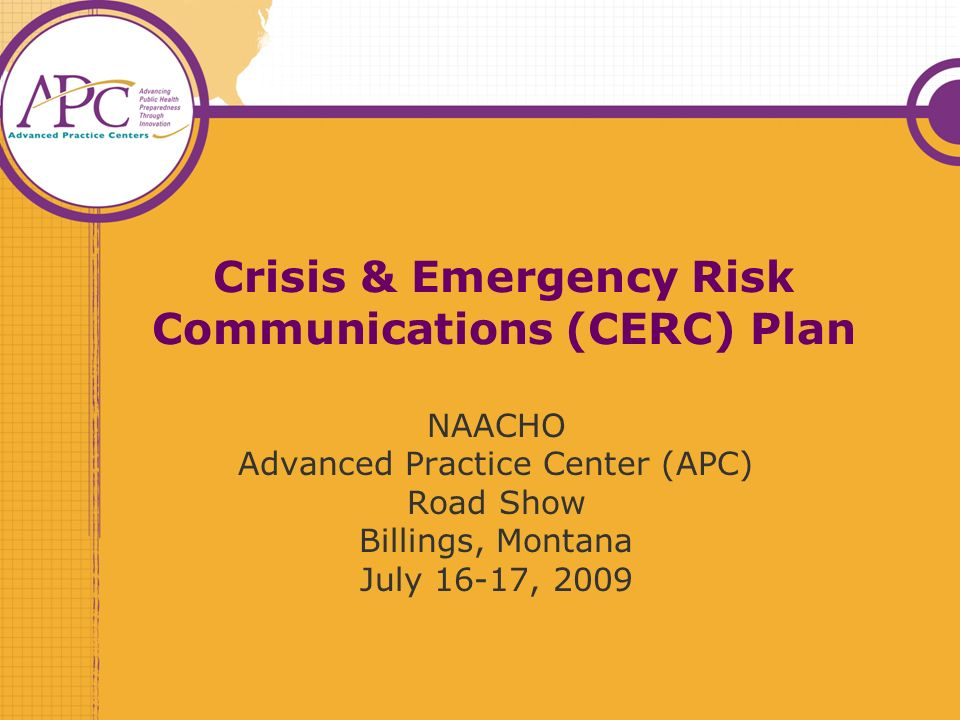 Crisis & Emergency Risk Communications (CERC) Plan