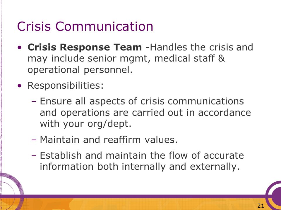 Crisis Communication Crisis Response Team -Handles the crisis and may include senior mgmt, medical staff & operational personnel.