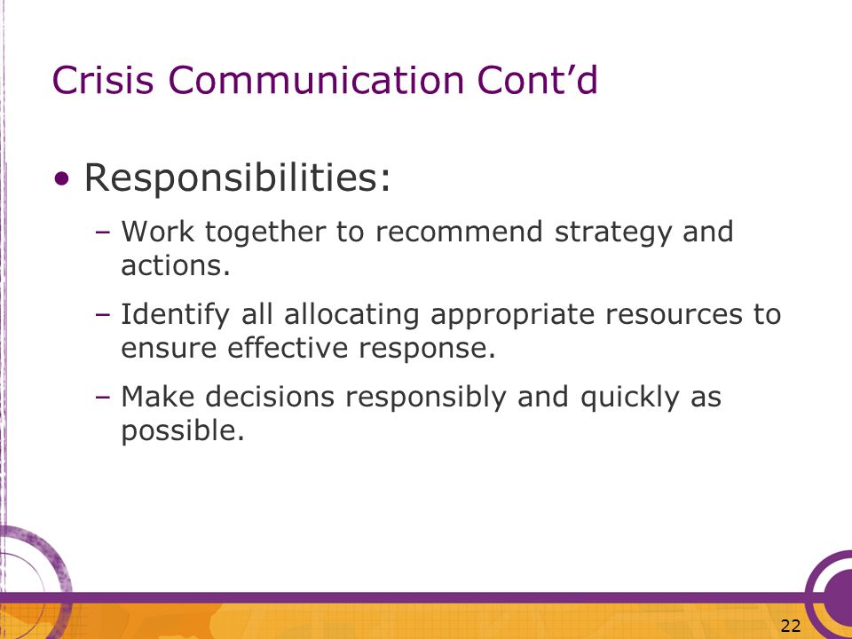 Crisis Communication Cont'd