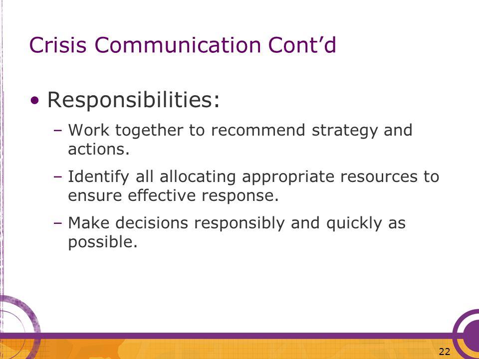 Crisis Communication Cont'd