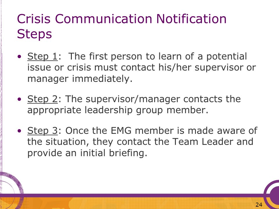 Crisis Communication Notification Steps