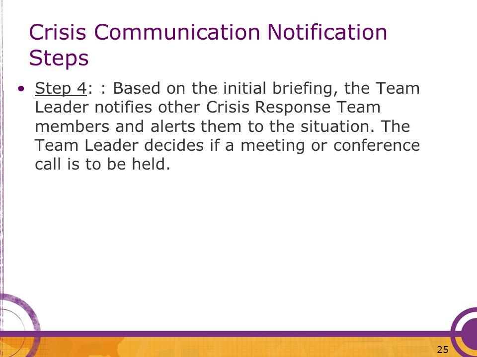 Crisis Communication Notification Steps