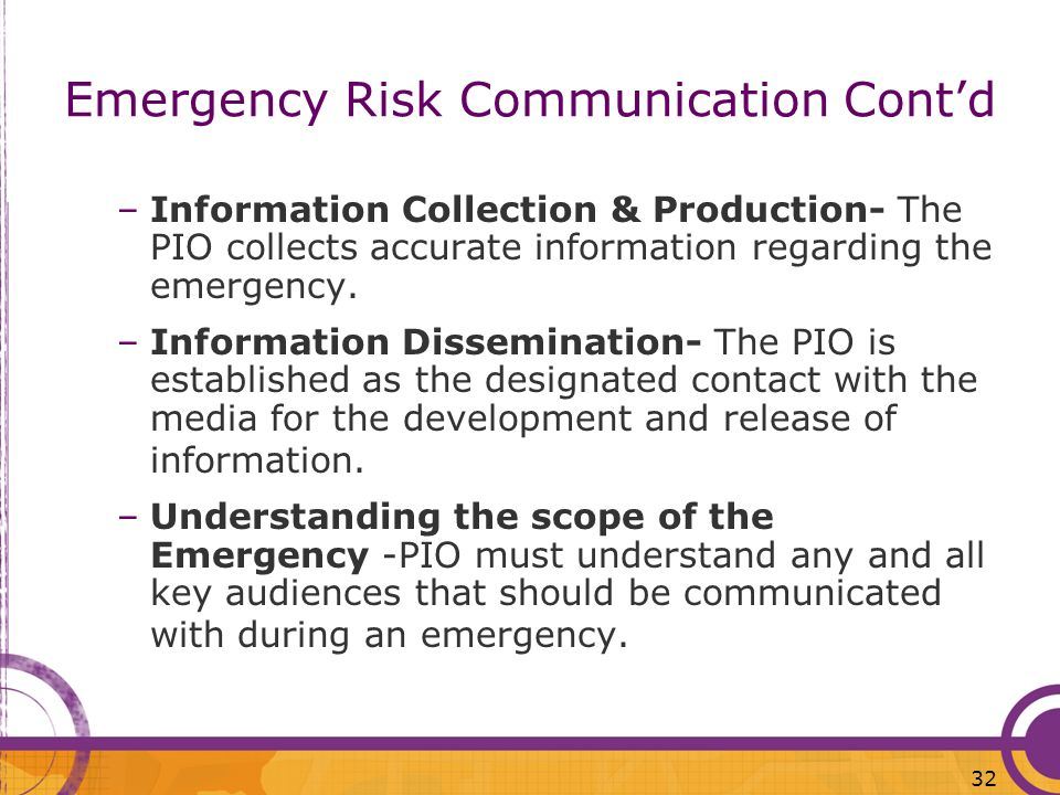 Emergency Risk Communication Cont'd