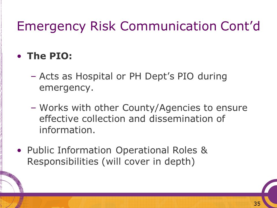 Emergency Risk Communication Cont'd