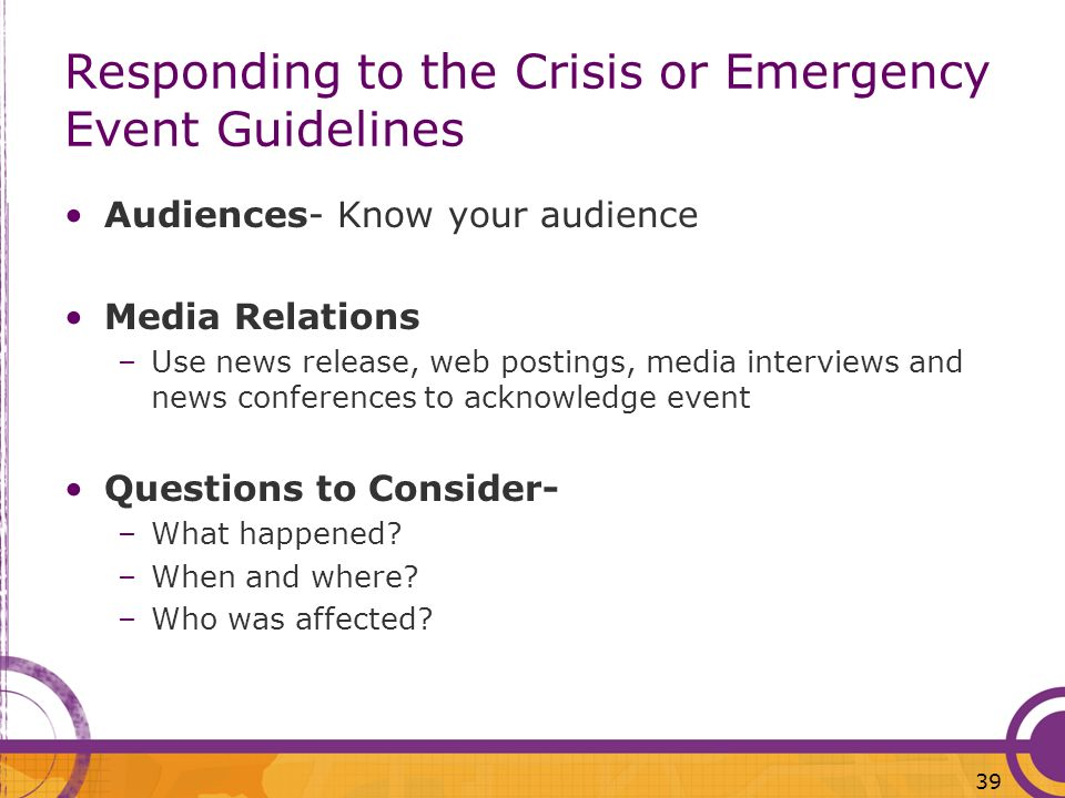 Responding to the Crisis or Emergency Event Guidelines