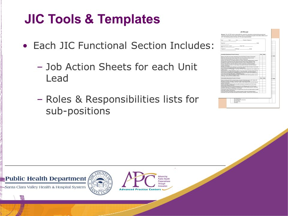 JIC Tools & Templates Each JIC Functional Section Includes:
