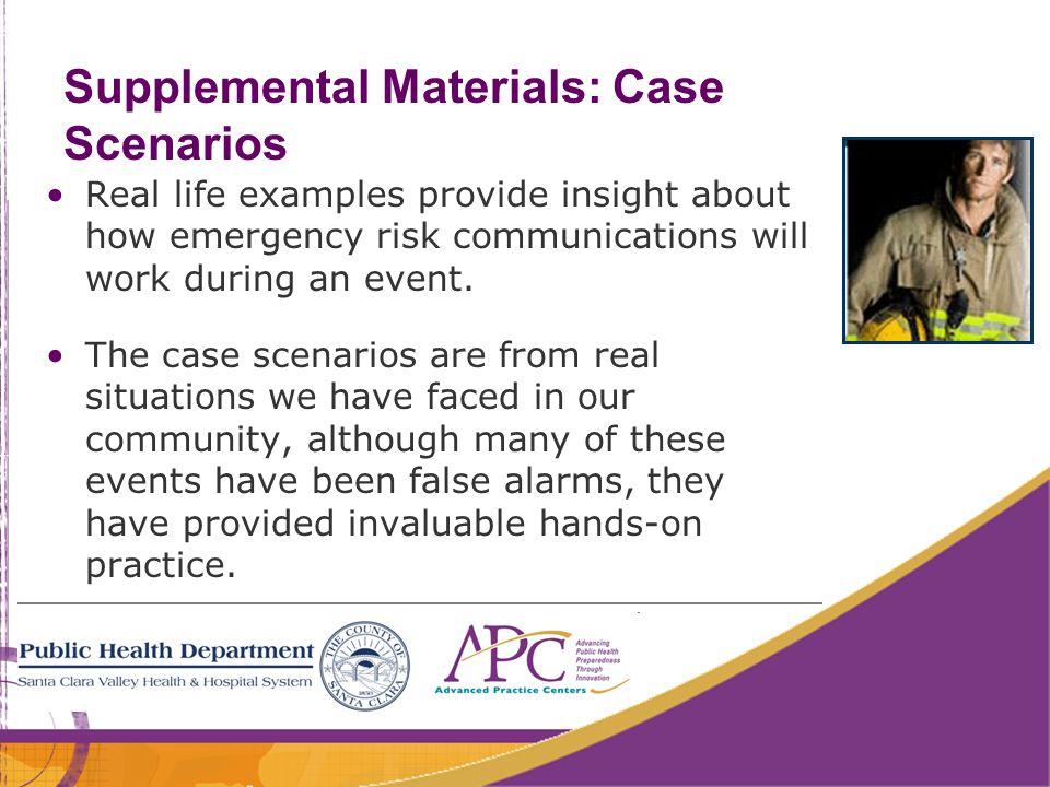 Supplemental Materials: Case Scenarios