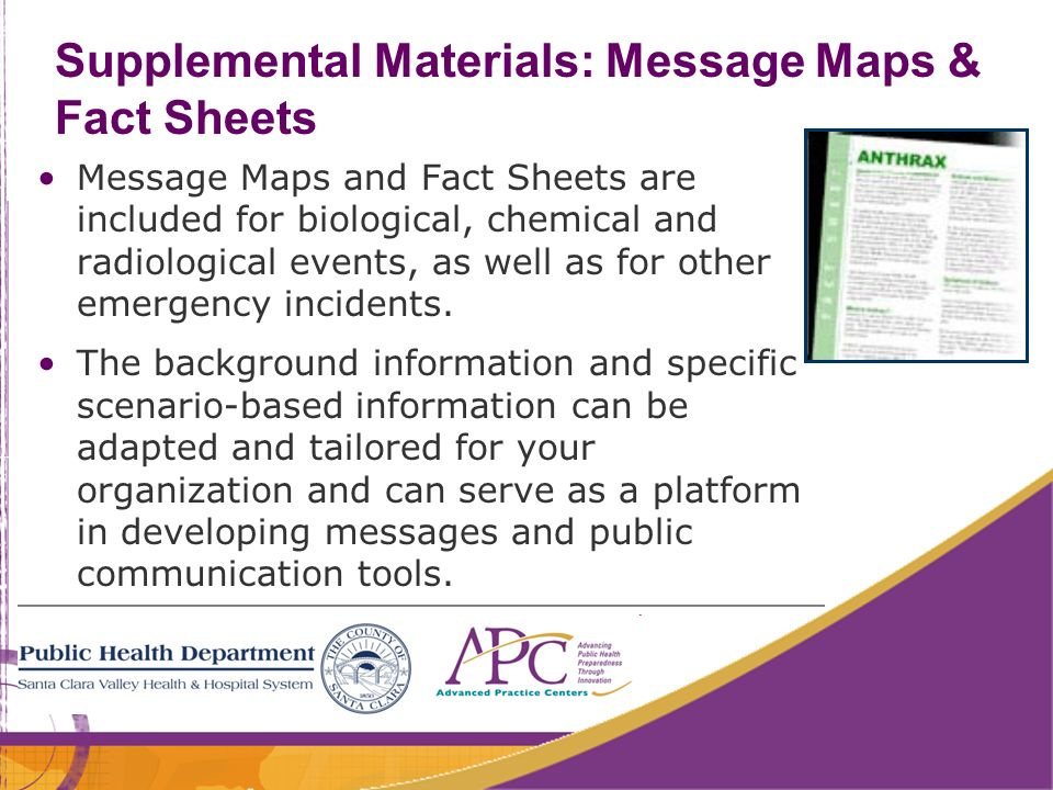 Supplemental Materials: Message Maps & Fact Sheets