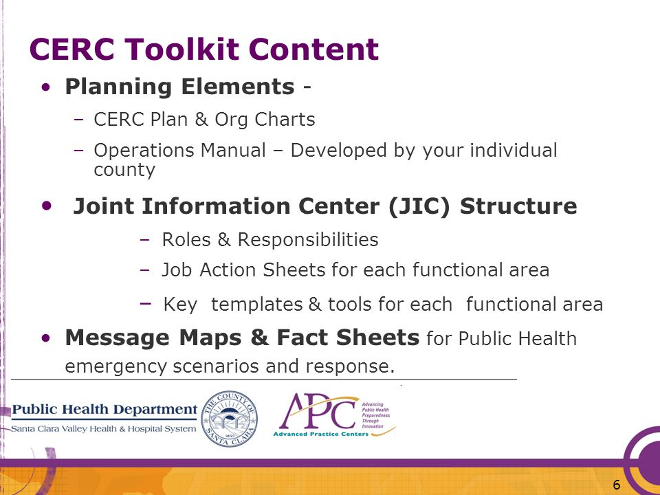 CERC Toolkit Content Joint Information Center (JIC) Structure
