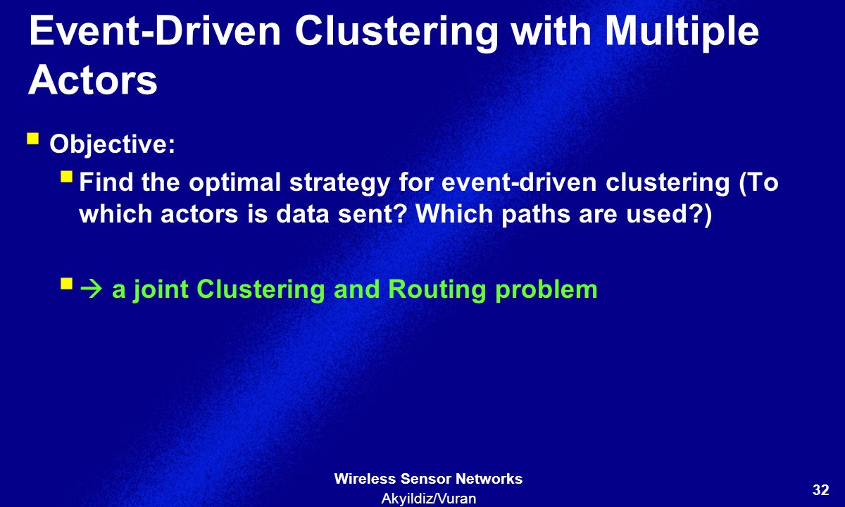 Event-Driven Clustering with Multiple Actors