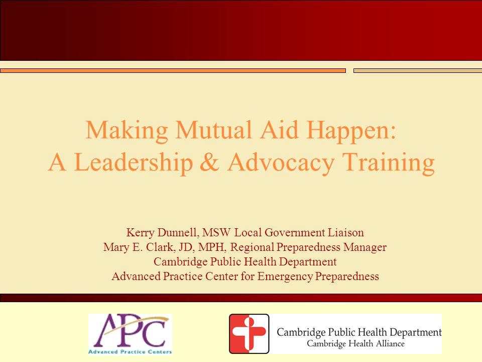 Making Mutual Aid Happen: A Leadership & Advocacy Training