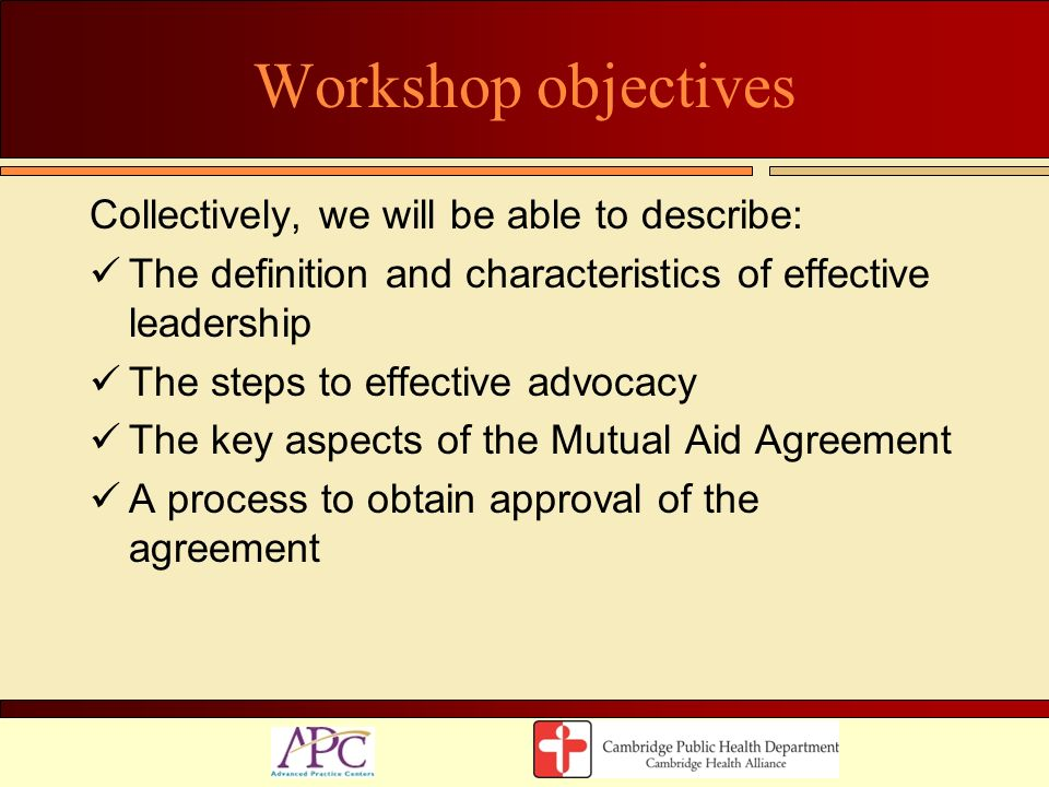 Workshop objectives Collectively, we will be able to describe: