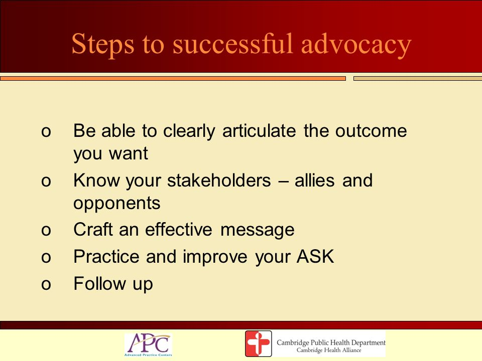Steps to successful advocacy