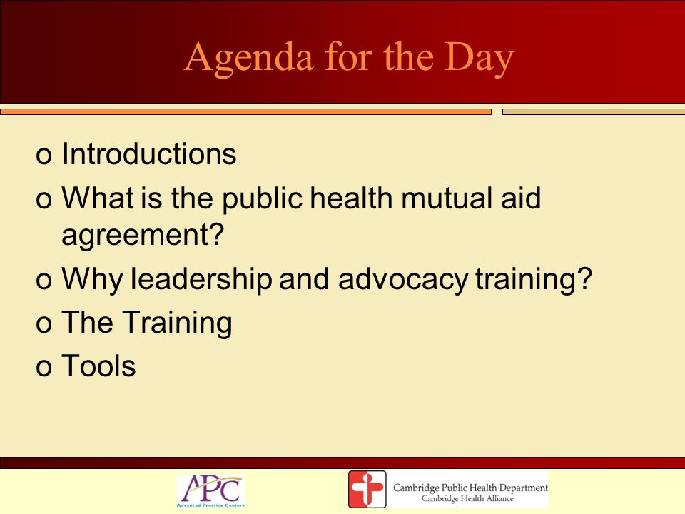 Agenda for the Day Introductions