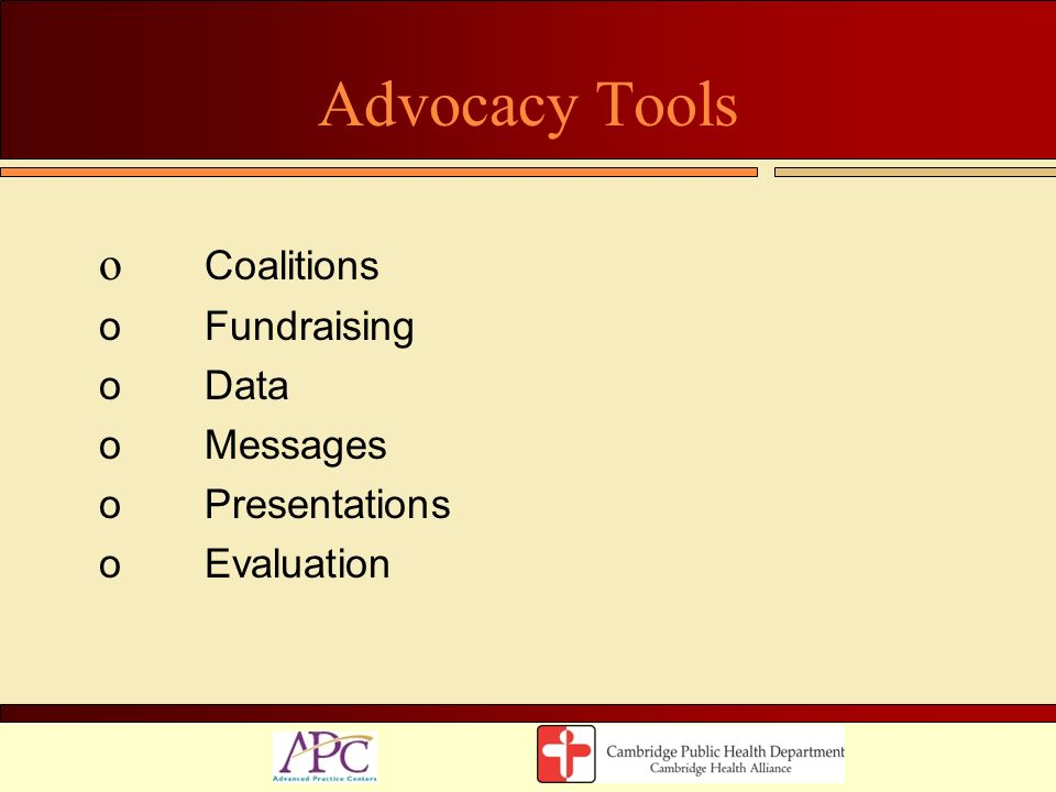 Advocacy Tools Coalitions Fundraising Data Messages Presentations