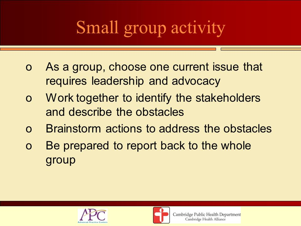 Small group activity As a group, choose one current issue that requires leadership and advocacy.