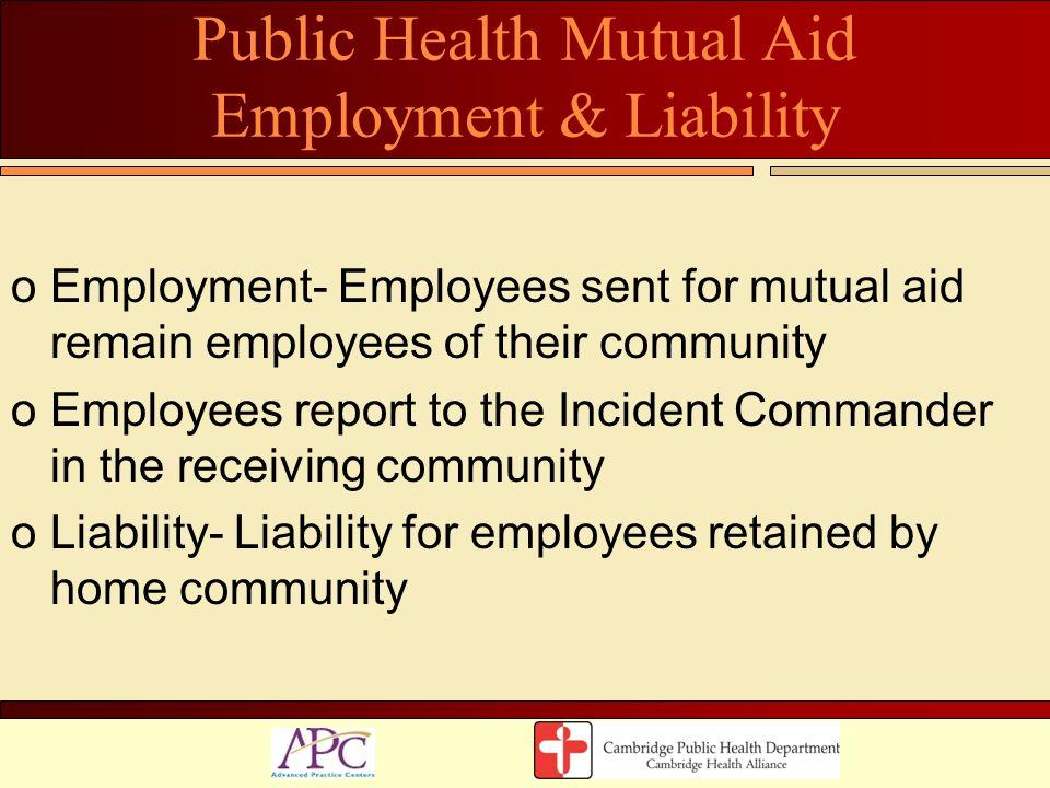 Public Health Mutual Aid Employment & Liability