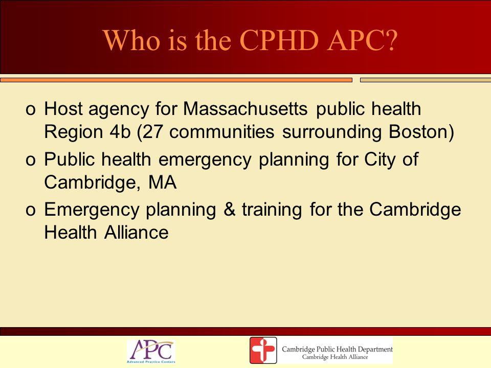 Who is the CPHD APC Host agency for Massachusetts public health Region 4b (27 communities surrounding Boston)