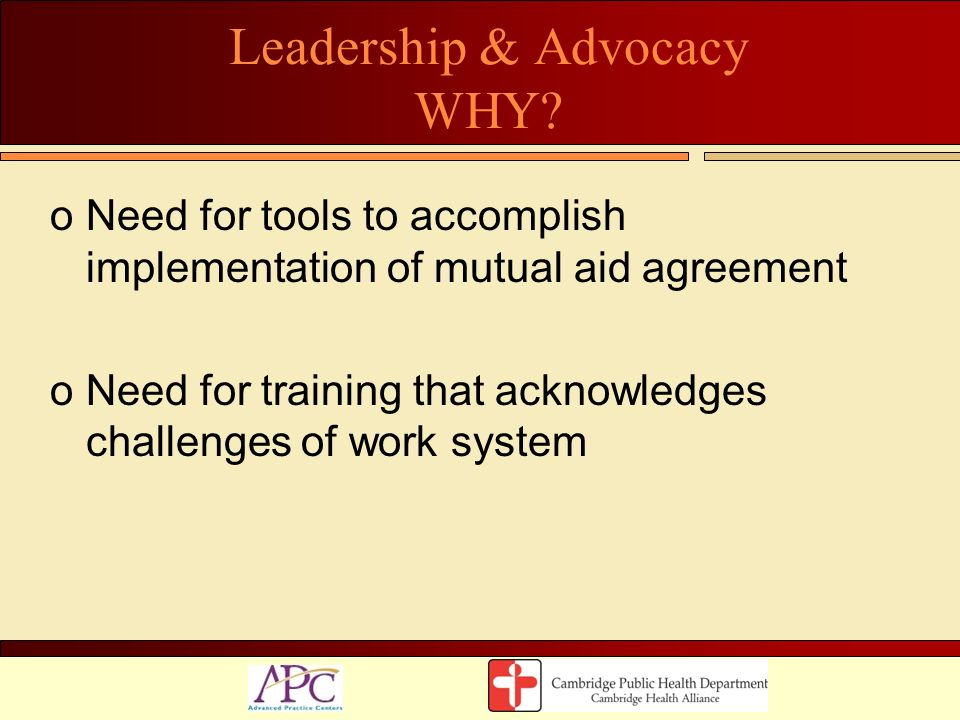 Leadership & Advocacy WHY
