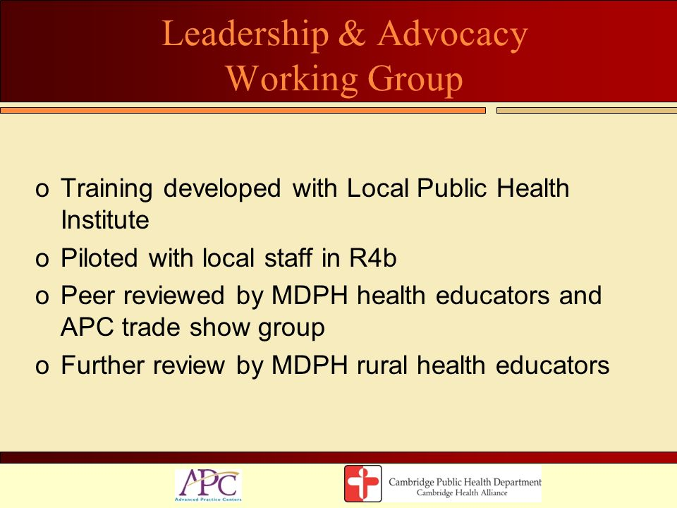 Leadership & Advocacy Working Group