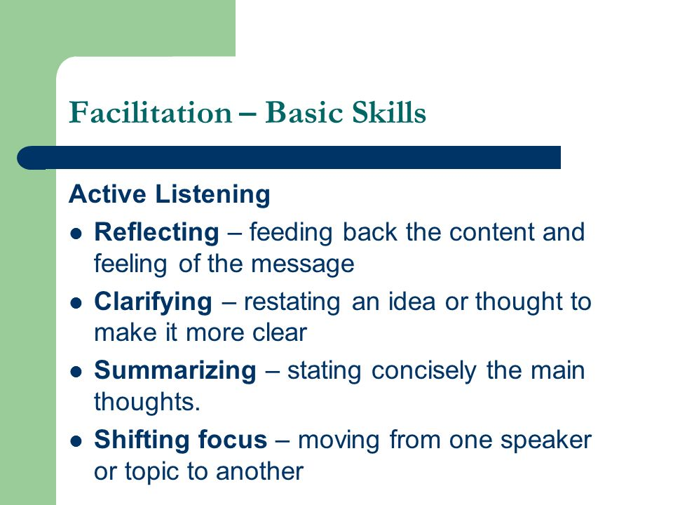 Facilitation – Basic Skills