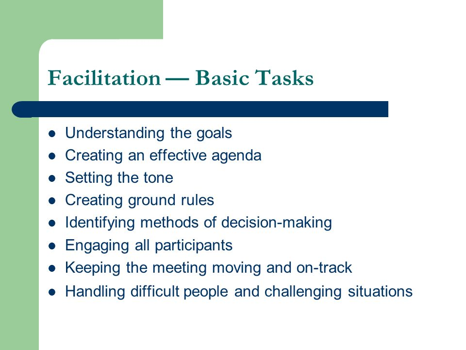 Facilitation — Basic Tasks
