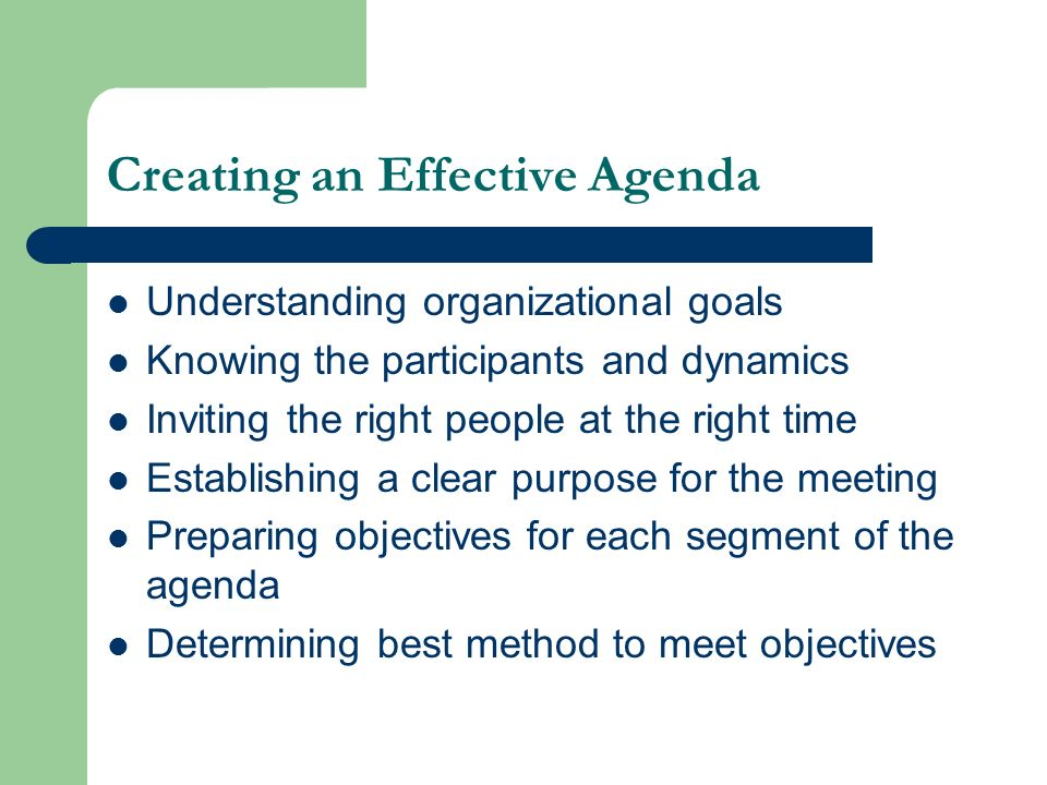 Creating an Effective Agenda