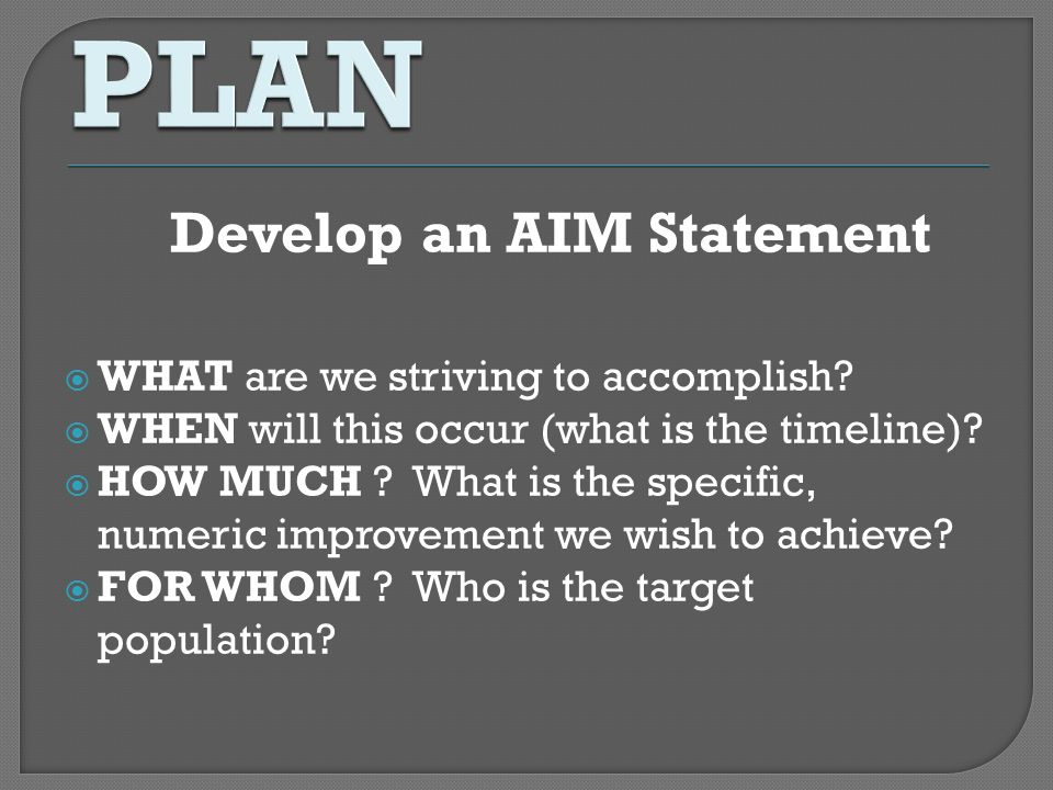 Develop an AIM Statement