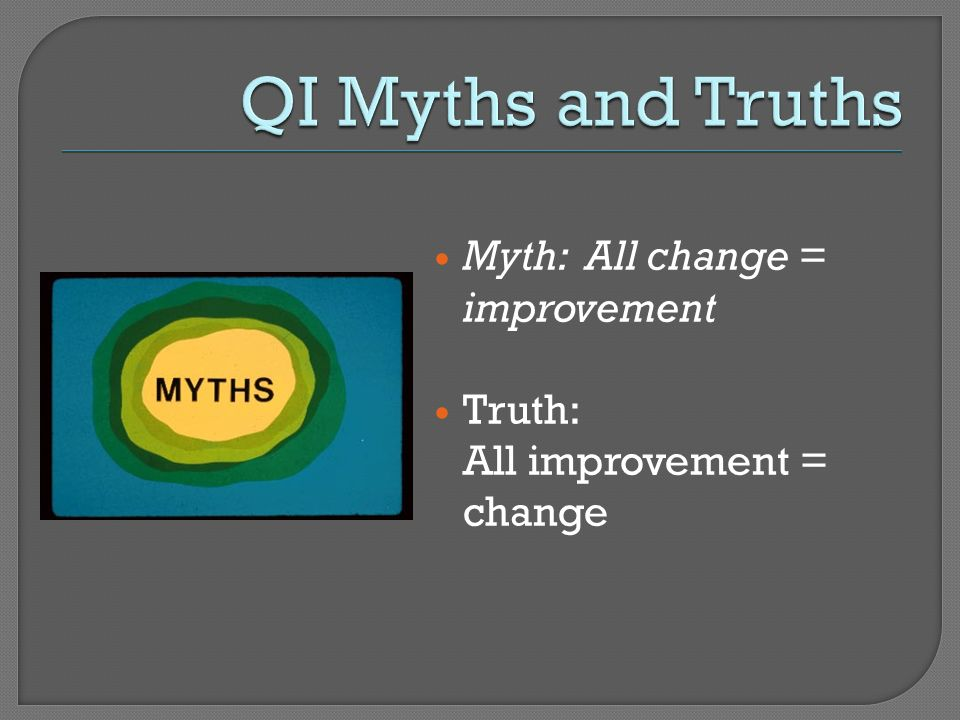 QI Myths and Truths Myth: All change = improvement