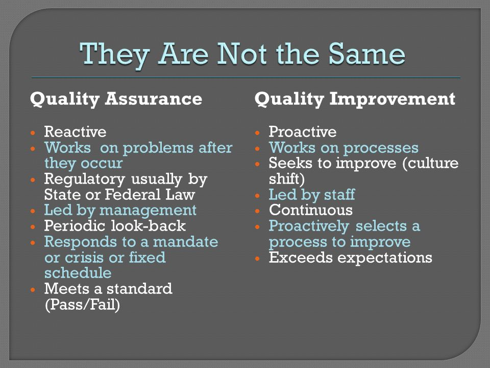 They Are Not the Same Quality Assurance Quality Improvement Reactive