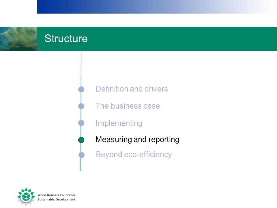 Structure Definition and drivers The business case Implementing