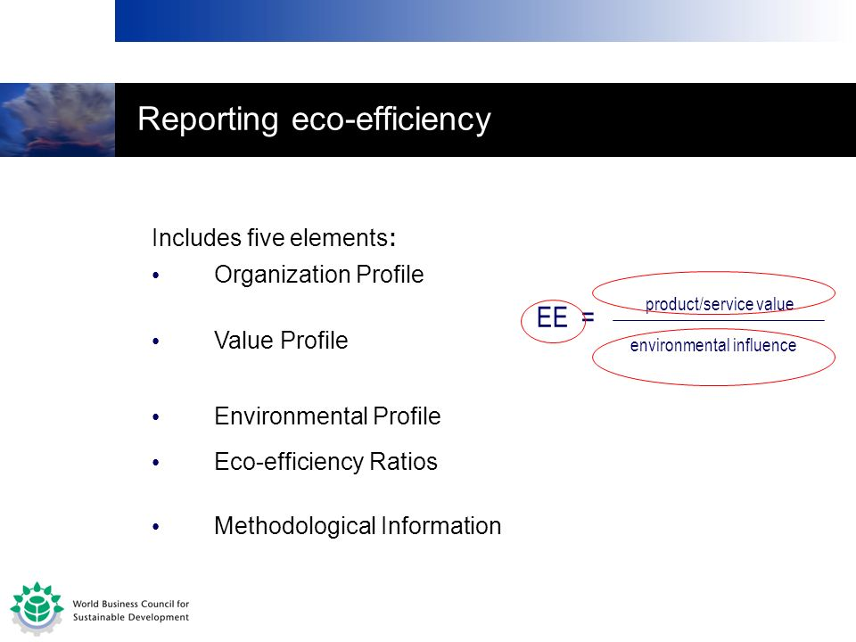 Reporting eco-efficiency