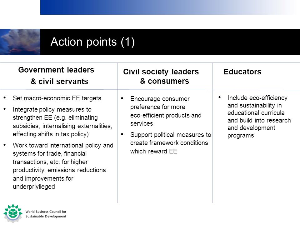 Action points (1) Government leaders & civil servants